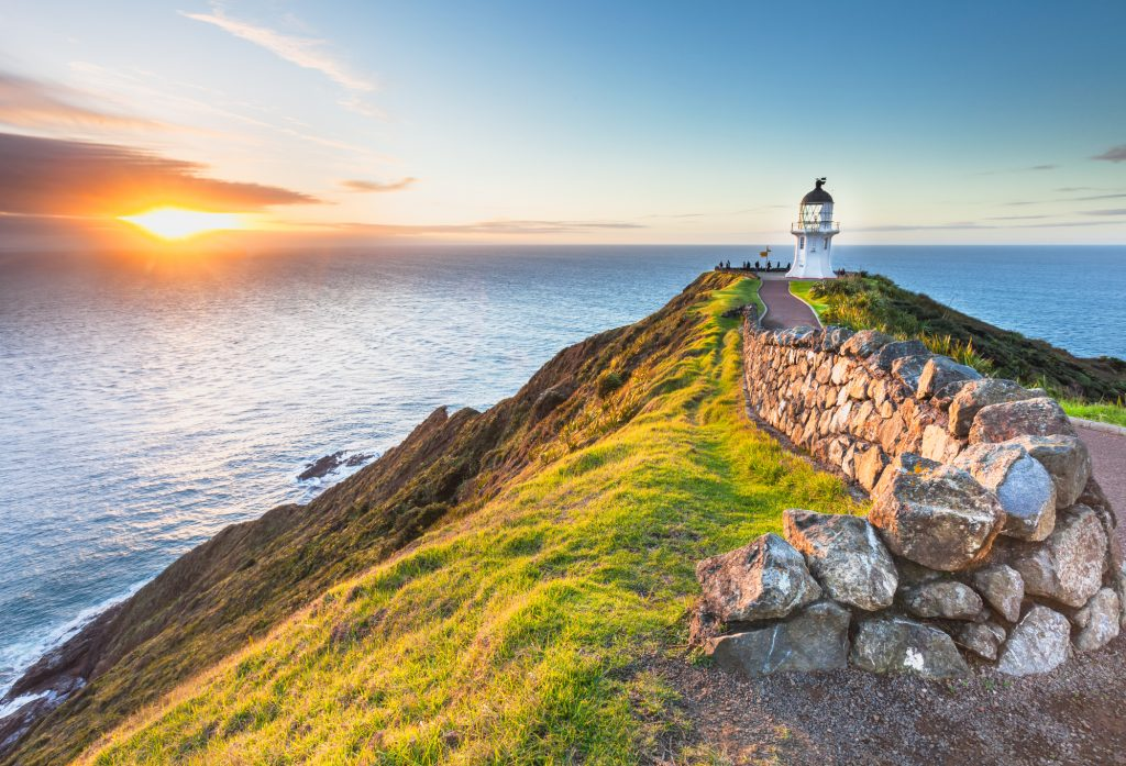 Cape Reinga in new Zealand at Sunset