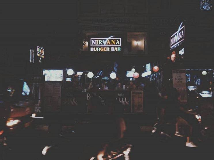 Interior of Nirvana burger bar in Bali