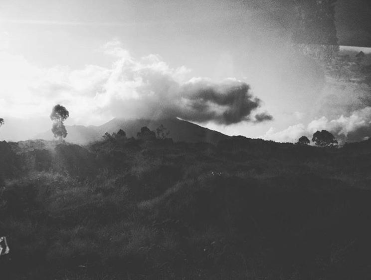 Black and white photo of Bali landscape