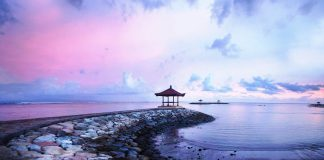 Bali seaside landscape during dusk