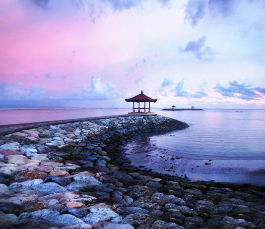 Bali seaside landscape during dusk
