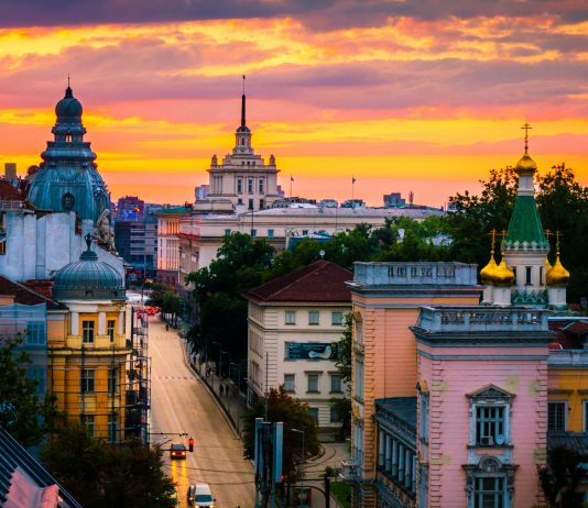 Sofia, capital of Bulgaria on a sunset, magnificent view from above over the historical buildings