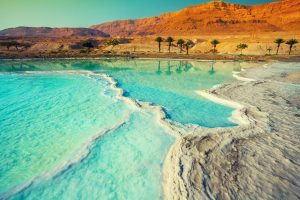 Dead sea salt shore, Israel