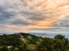 A view of Nagarkot, a hill station in Kathmandu, with breathtaking scenery and situated in between the mountain ranges, Himalaya and Annapurna