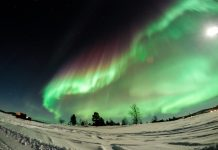 green and purple northern lights in Finnish lapland