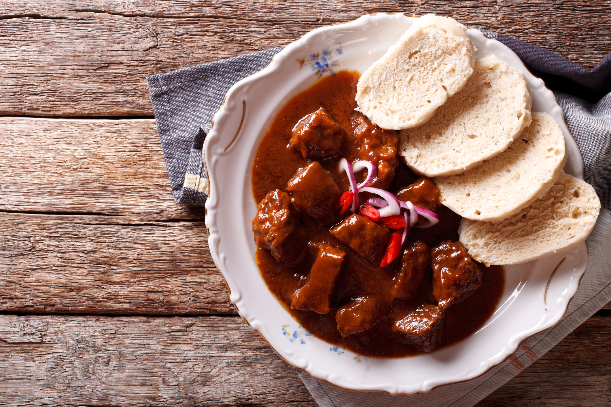 Homemade Hot Czech Goulash With Knodel In A Plate Close Up