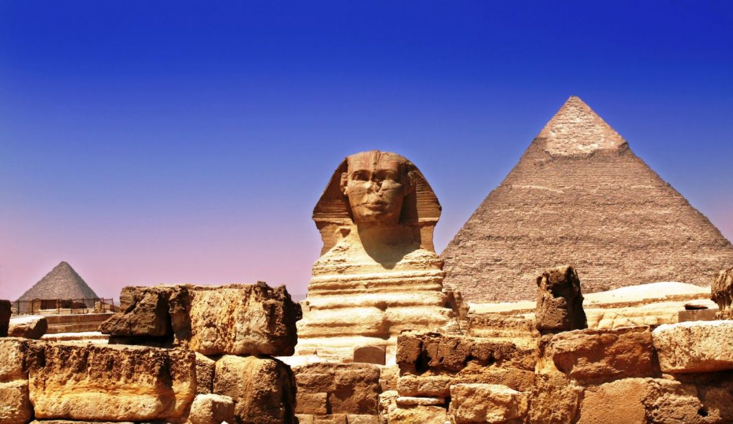 The Pyramid of Khafre and the Sphinx at Giza