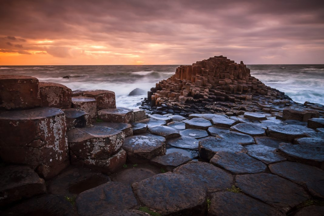 The Giant's Causeway in Northern Ireland during sunset