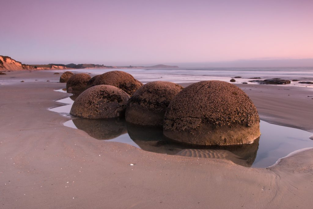 Moeraki Boulders at pink sunrise, New Zealand