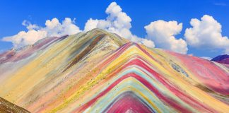 Vinicunca, Cusco Region, Peru. Montana de Siete Colores, or Rainbow Mountain. Overtourism, Red River