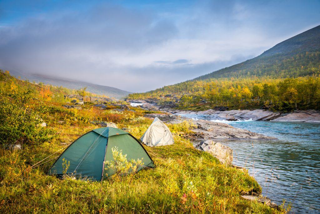 Tents photographed on an early autumn morning in Kaitumjaure along the Royal Trail (Kungsleden in Swedish) in Swedish Lapland., Trekking Hacks