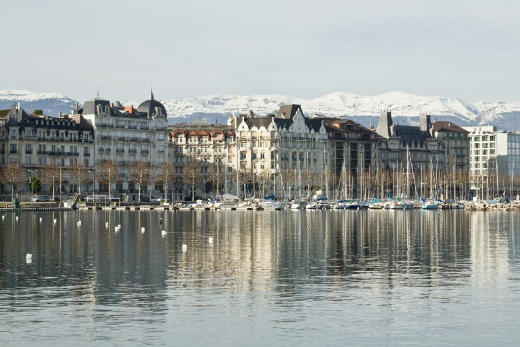 Geneva city and Lake Geneva in winter