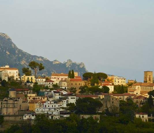 Old trditional village of Ravello. View on the sunset. Amalfi coast, Italy.