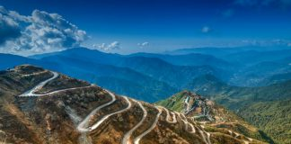 Curvy mountain roads on the Silk trading route between China and India