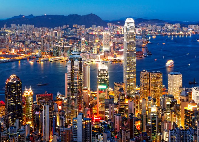 Aerial view of the city of Hong Kong at sunset, Game