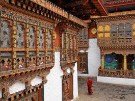 A monk in Punakha Temple, Bhutan