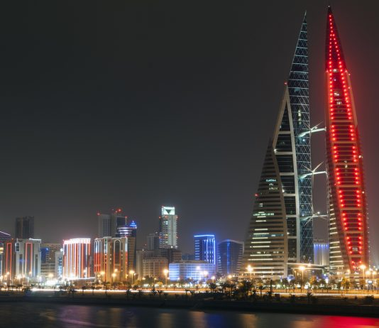 Skyline of Manama at night. Bahrain, Middle East.best clubs in Bahrain