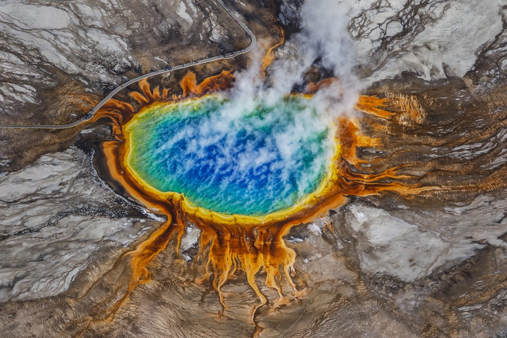 An aerial view of the incredible Grand Prismatic Spring in Wyoming, USA's Yellowstone National Park