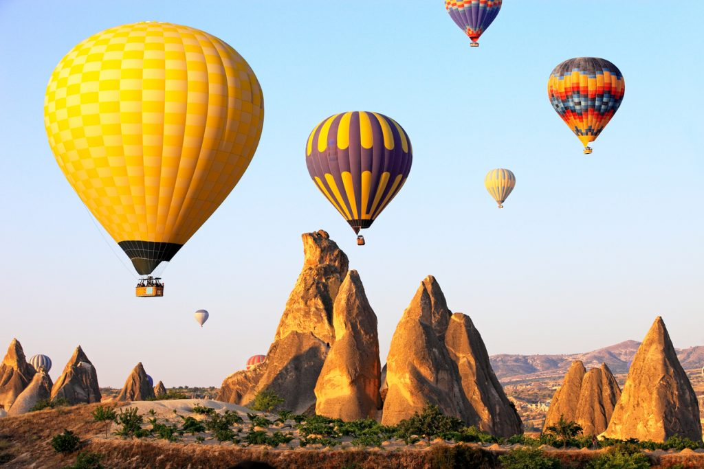 Hot air balloons in Cappadocia, Turkey, best adventure trip for couples