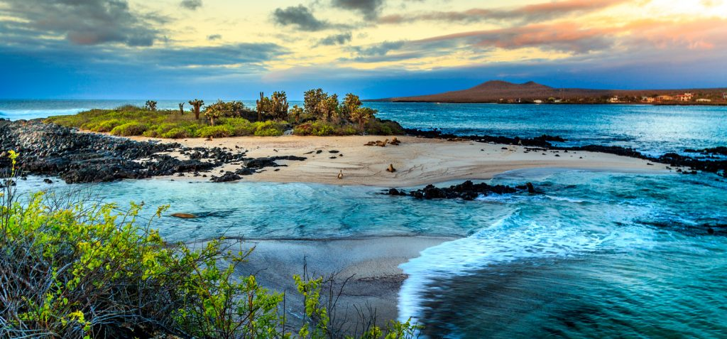 Sea view if one of the islands of the Galapagos, best adventure trips for couples