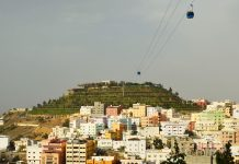 Abha city view with the green mountain in the background