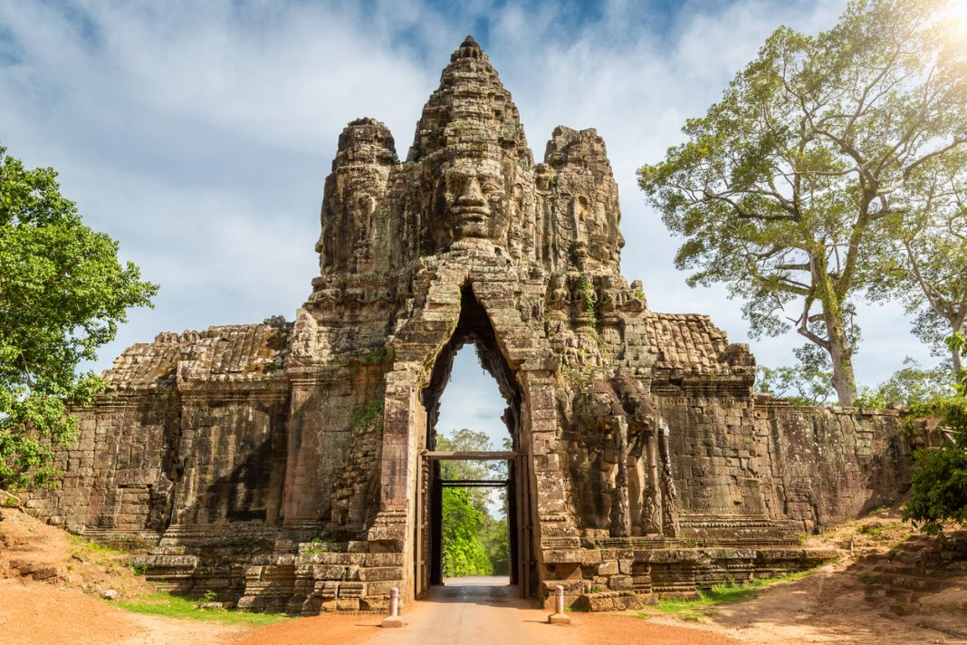 Entrance Gate of Angkor Thom, Angkor Wat, Cambodia, South East Asia.