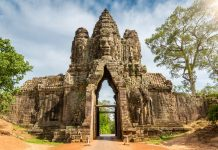 Cambodia, Entrance Gate of Angkor Thom, Angkor Wat, Cambodia, South East Asia.