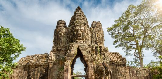 Cambodia, Entrance Gate of Angkor Thom, Angkor Wat, Cambodia, South East Asia.