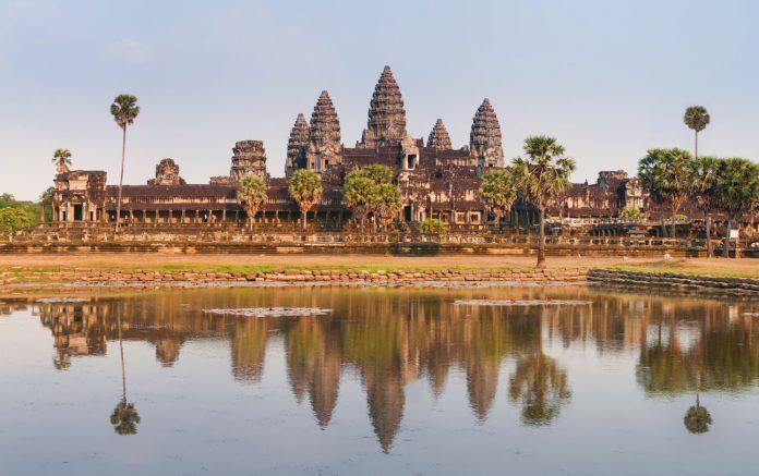 Panorama of Angkor Wat Cambodia Ruins and Reflection