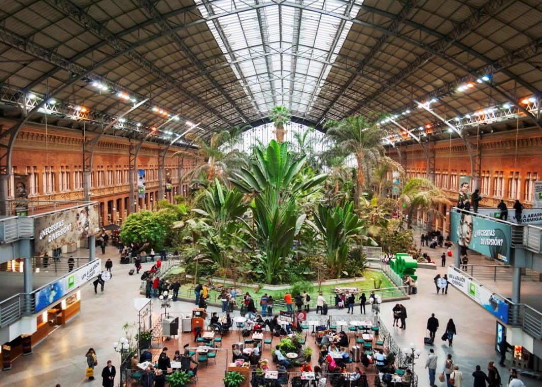 the botanical garden inside the Atocha train station in Madrid, Spain: Beautiful train stations