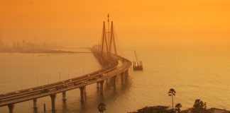 Bandra-Worli Sea Link at dusk Mumbai