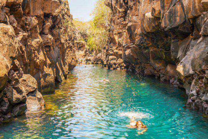 Swimming in Las Grietas on Santa Cruz Island in Galapagos, Puerto Ayora, Galapagos, Ecuador