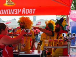Beer in Russia, Fans from Russia, Brazil and Switzerland in Rostov-on-Don, FIFA World Cup 2018