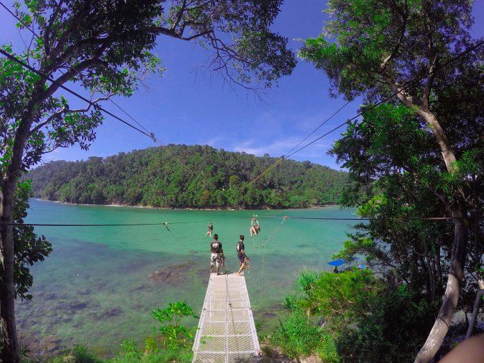 Island to island zipline - things to do in Sabah