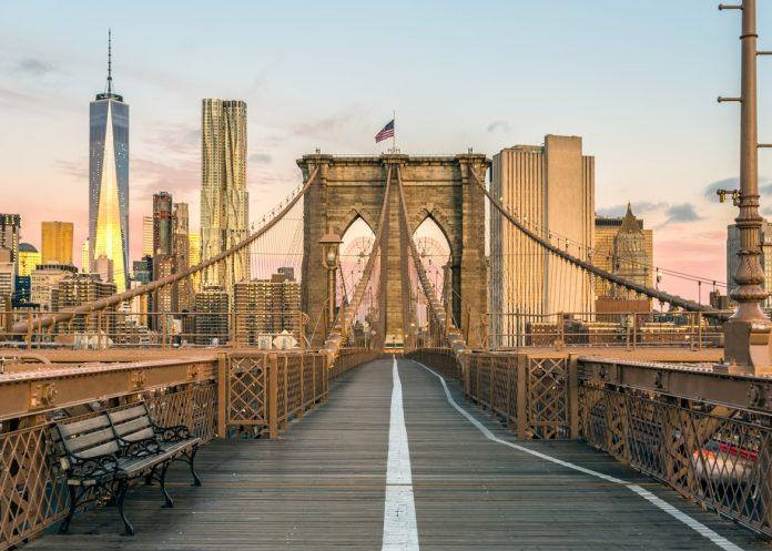 The Famous Brooklyn Bridge at Sunrise, New York City, USA.
