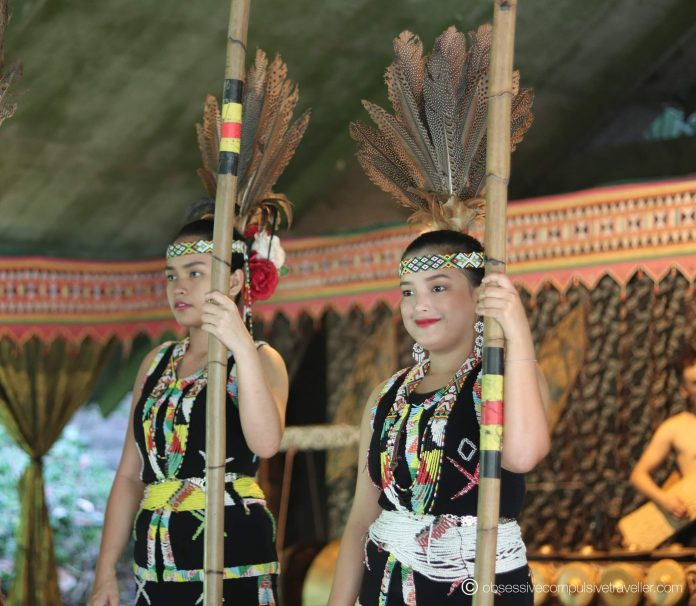 The Murut women tapping to the 'Magunatip' bamboo dance - indigenous tribes of North Borneo