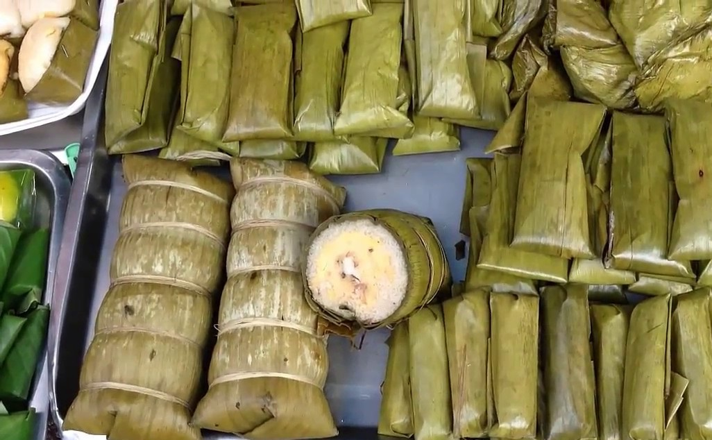 Rolled banana cake cambodian dishes food