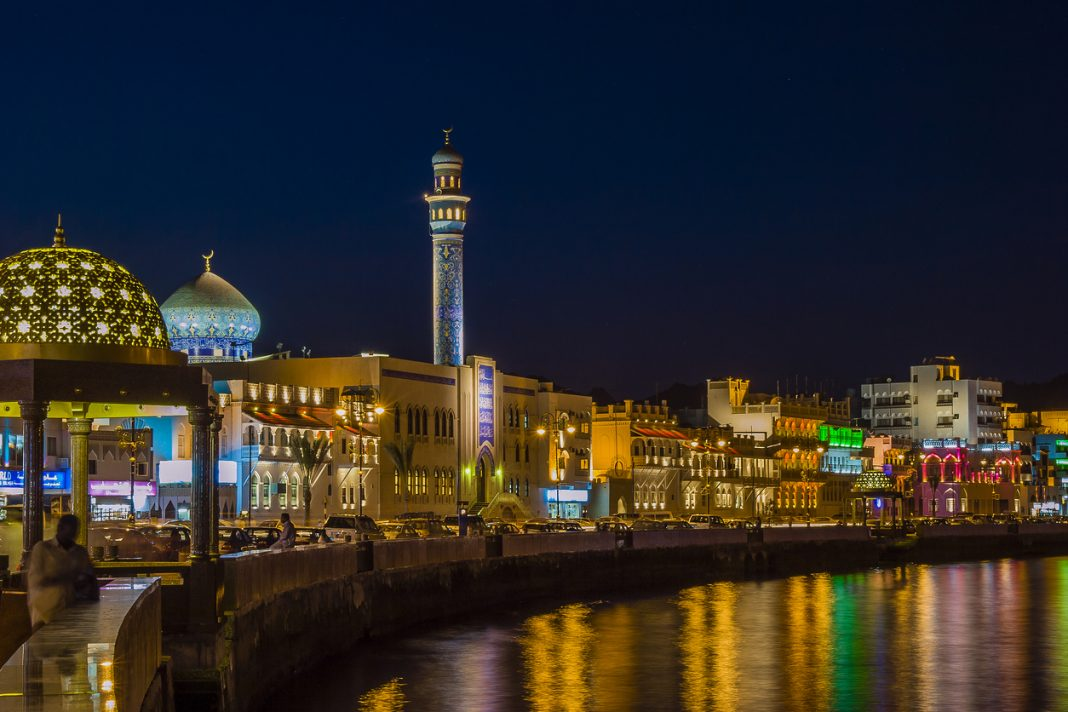 Night view of the corniche in Muscat, Oman