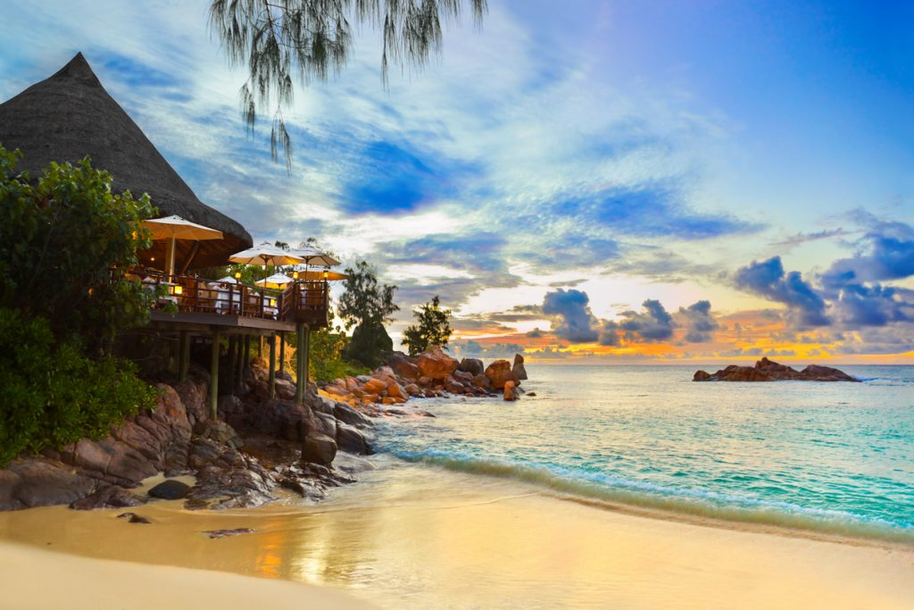 Cafe on tropical beach, Praslin Island, Seychelles