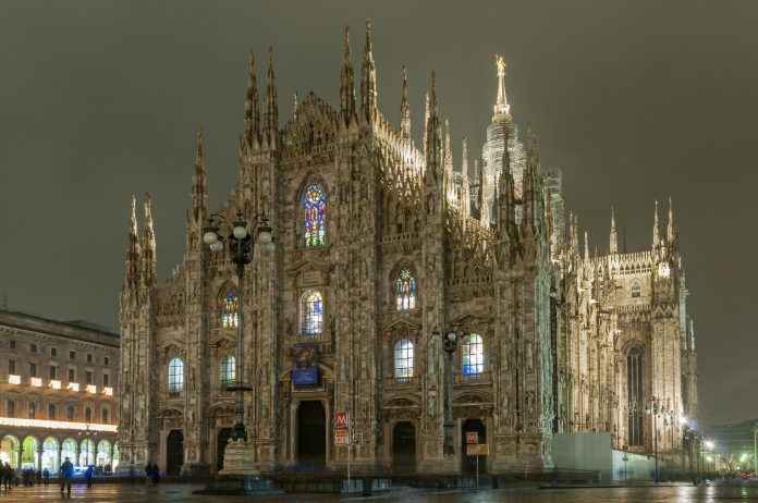 Night view of Piazza del Duomo square with Duomo cathedral, one of the biggest gothic-style structures in the world, Milan, Lombardy, Italy, Game