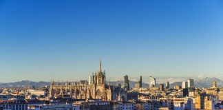 Milan skyline with Italian Alps in the background