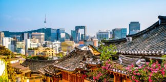 Bukchon Hanok Village with modern building in Seoul, South Korea