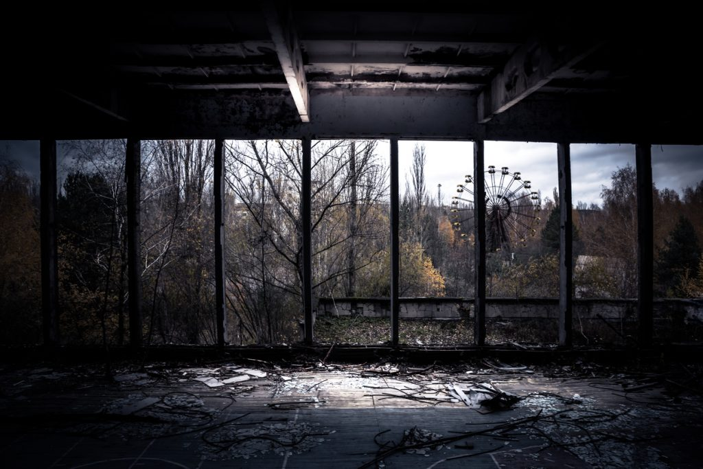 View from inside the abandoned gym in Prypjat ghost town, Chernobyl.