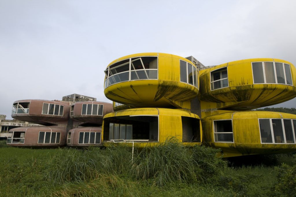 UFO style vacation homes were made to provide luxury accommodations for rich Taipei residents. San ZhiAn, North Taiwan""