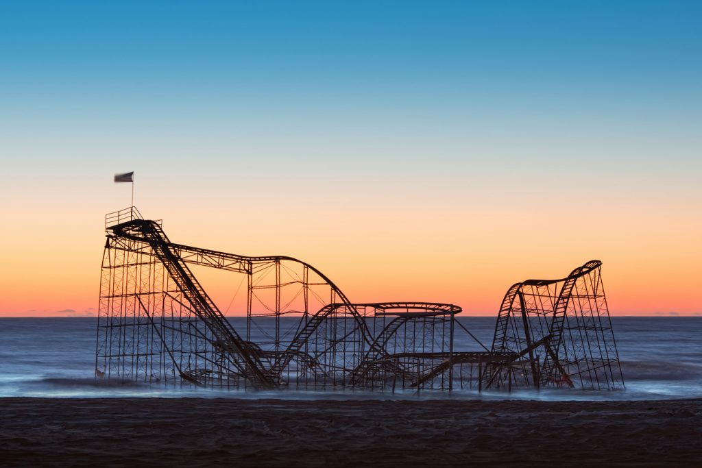 The aftermath of Hurricane Sandy left the star jet roller coaster in the ocean.