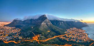 Table Mountain covered by clouds, Cape Town, South Africa