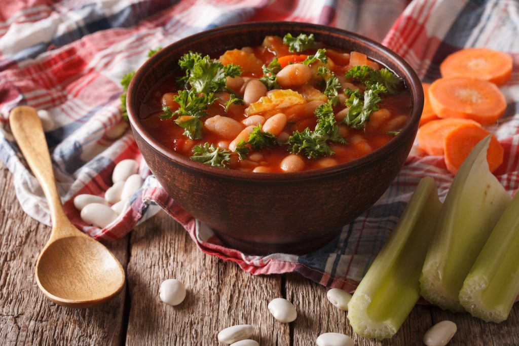 Homemade soup with beans, carrots and celery, Monsoon