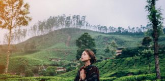 woman meditating in the tea plantations of Kerala