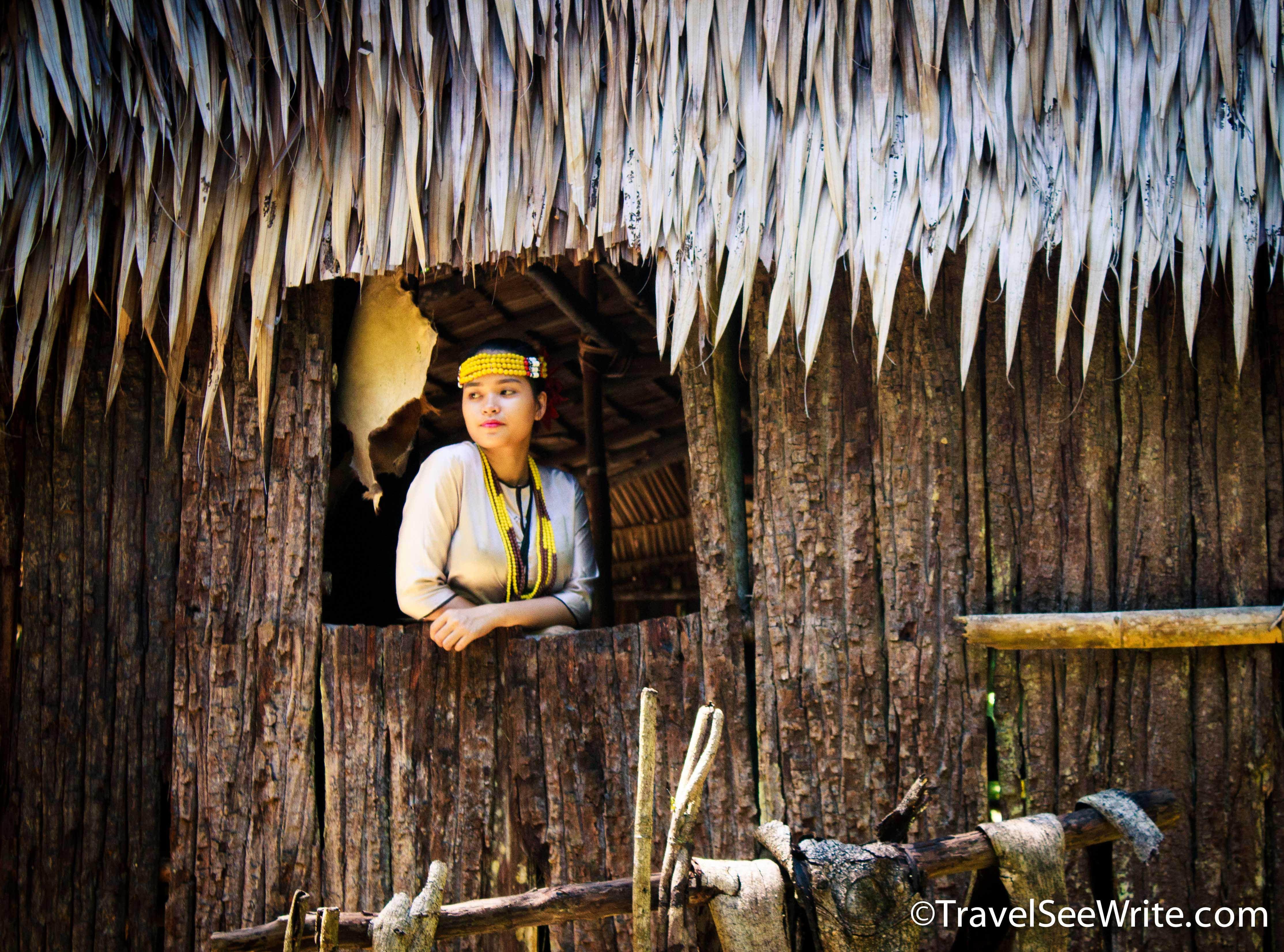 Bajau Tribe woman at her hut, Mari Mari village, Sabah, Malaysia - southeast asia travel