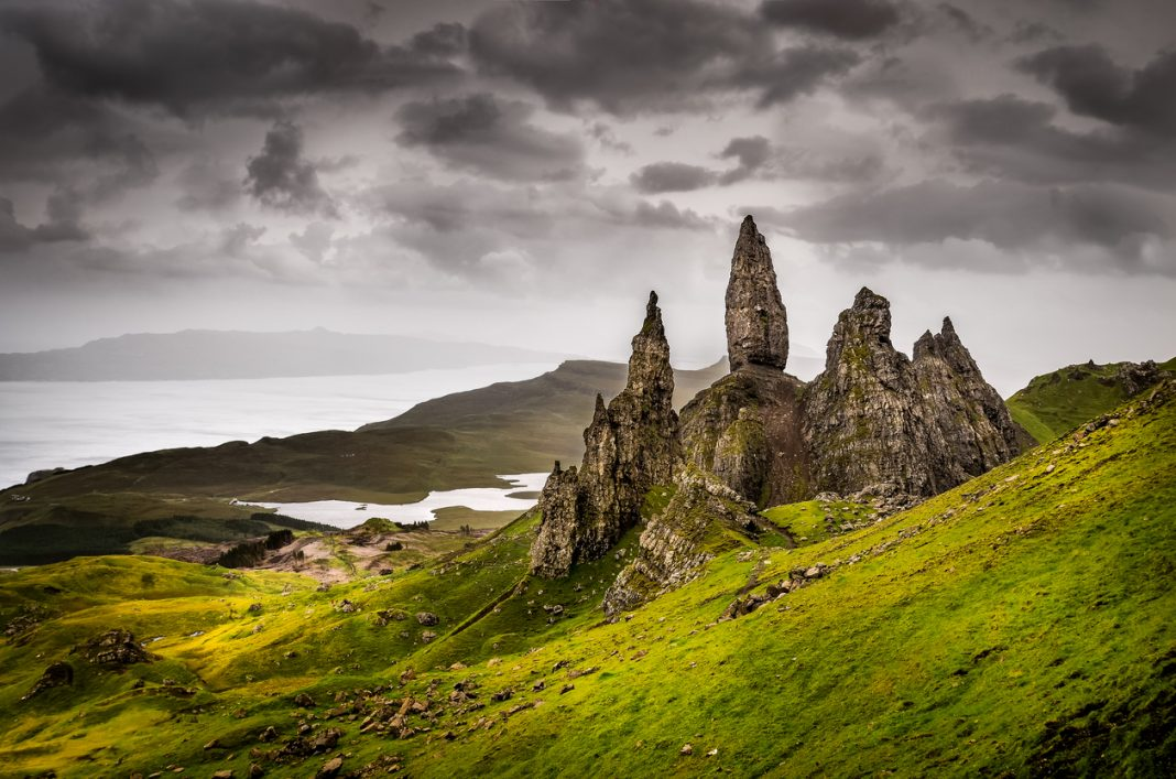 The iconic Old Man of Storr rock formation, Scotland, United Kingdom